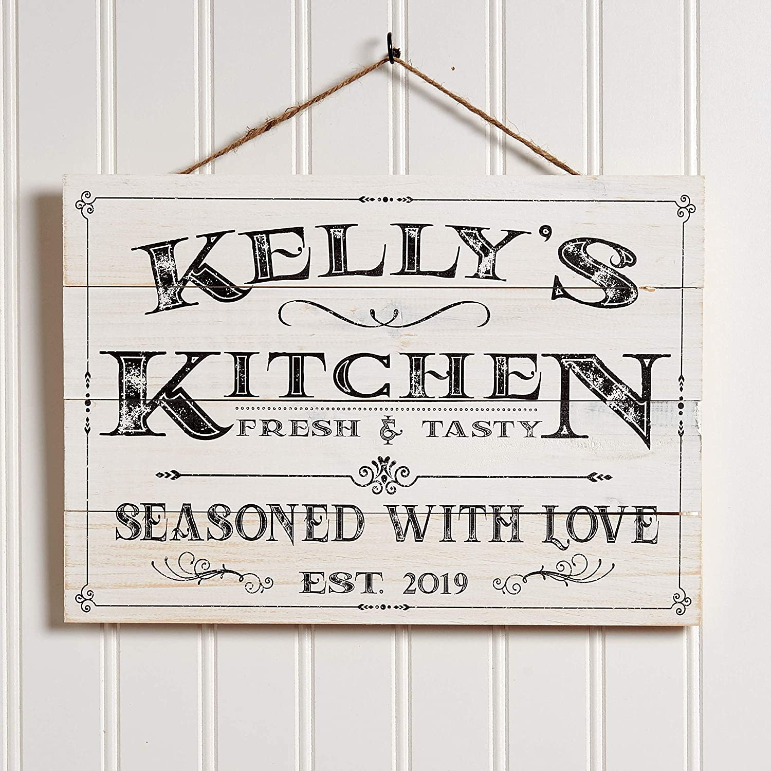 Amazon Com Artblox Personalized Wooden Kitchen Wall Decor Farmhouse Last Name Signs For Home Family Sign Housewarming Gifts Wedding Gift 13x9 White Home Kitchen