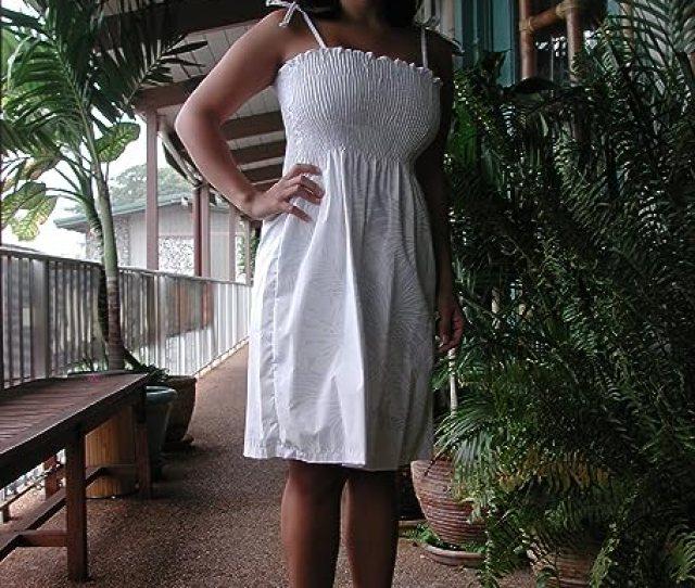 Smocked Sundress White Season Spaghetti Strap Hawaiian Aloha Tube Top Sun Dress In Wedding White