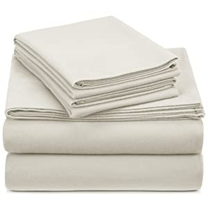 Pinzon Signature 190-Gram Cotton Heavyweight Velvet Flannel Sheet Set - Queen, Cream
