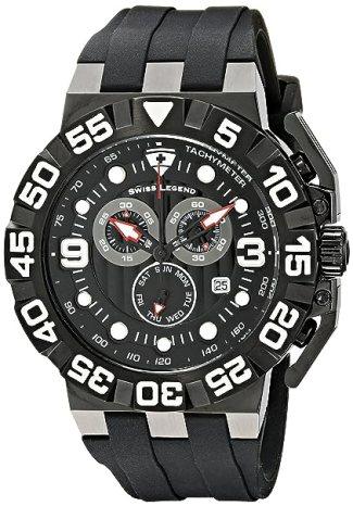 Swiss Legend Men's 10125-BB-01 Challenger Chronograph Black Dial Black Silicone Watch