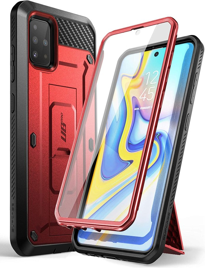 Amazon Com Supcase Unicorn Beetle Pro Series Designed For Samsung Galaxy A51 Case Not Fit A51 5g Version Full Body Rugged Holster Kickstand Case With Built In Screen Protector Metallic Red