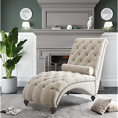 Buy Olodumare Tufted Chaise Lounge Indoor Chase Lounger Chair Bedroom Chairs For Adults With 1 Bolster Pillow Beige Online In Indonesia B094jklzkb