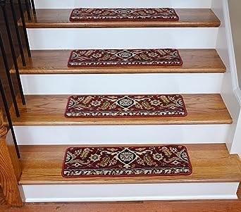 Premium Wool Carpet Stair Treads Burgundy Kashan 27 X 9 13 | Carpet For Stairs Amazon | Indoor Stair | Anti Slip | Stair Runner Rugs | Self Adhesive | Beige