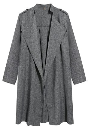 HOTOUCH Women's Elegant Open Front Waterfall Loose Trench Coat Cardigan, Large, Dark Gray