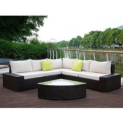 Amazon Com U Max  Pieces Brown Outdoor Patio Garden Furniture Pe Rattan Wicker Sofa Sectional With Tea Table Conversation Sets Garden Outdoor