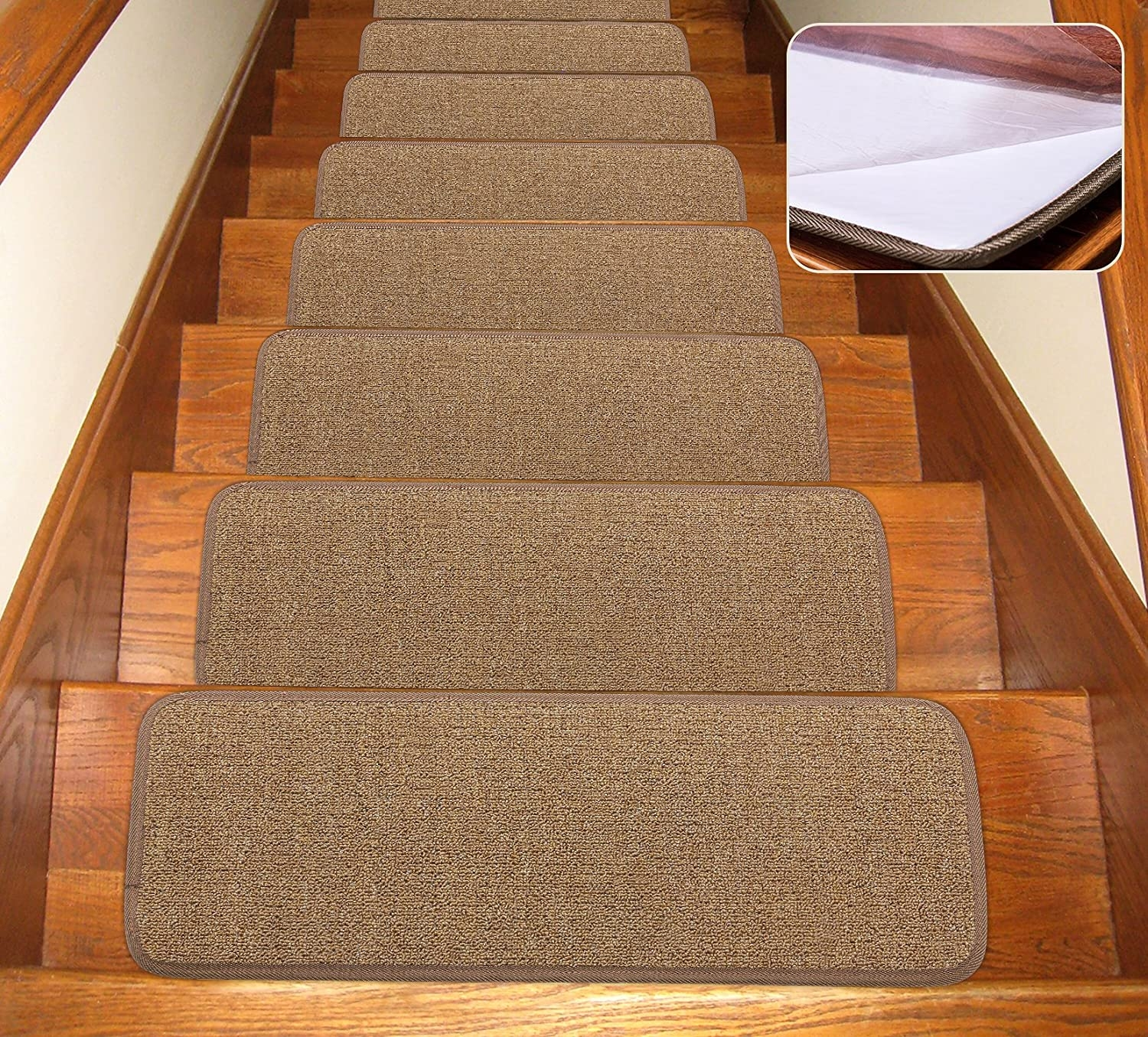 Seloom Stair Treads Carpet Non Slip With Skid Resistant Rubber | Carpet Strips For Steps | Border | Carpeted | Adhesive | Builder Grade | Victorian