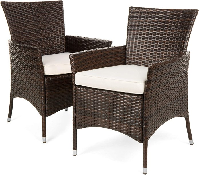 Amazon Com Best Choice Products Set Of 2 Modern Contemporary Wicker Patio Furniture Dining Chairs For Backyard Poolside Garden W Water Resistant Cushions Handwoven Fade Resistant Brown Garden Outdoor