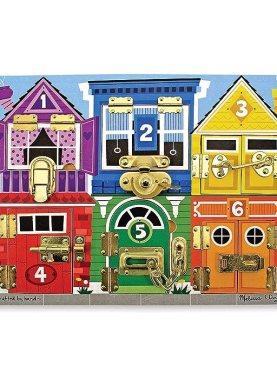 "Melissa & Doug Wooden Latches Board, Developmental Toy, Helps Develop Fine Motor Skills, Smooth-Sanded Wood, 15.5"" H x 11.5"" W x 1.25"" L"