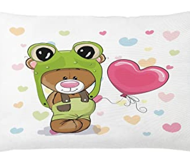 Lunarable Cute Throw Pillow Cushion Cover Teddy Bear In A Frog Hat With Heart Shaped