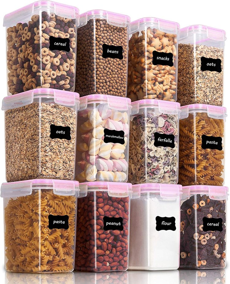 Amazon Com Vtopmart Airtight Food Storage Containers 12 Pieces 1 5qt 1 6l Plastic Pba Free Kitchen Pantry Storage Containers For Sugar Flour And Baking Supplies Dishwasher Safe Include 24 Labels Pink Kitchen Dining