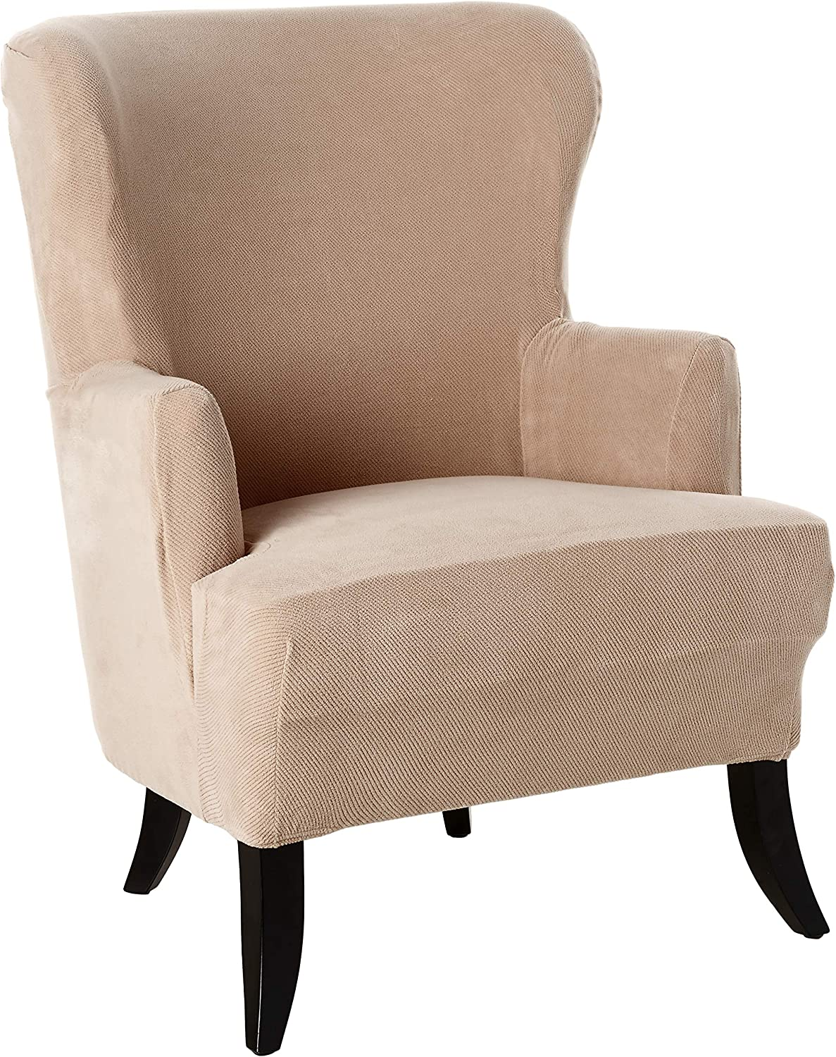 Amazon Com Surefit Stretch Wing Chair Slipcover Taupe Furniture Decor