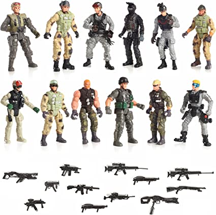Amazon Com Iq Toys Us Army Men And Swat Team Special Forces Action Figures Set Of 12 4 Inch Soldiers And 16 Weapons For Kids Boys And Girls Toys Games