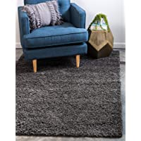 Unique Loom Solo Solid Shag Collection Modern Plush Graphite Gray Area Rug (2' 0 x 3' 0)