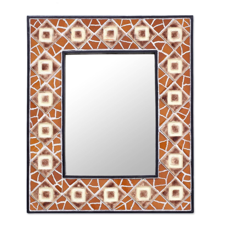Novica Mosaic Glass Wall Mounted Mirror, Brown, Geometry Mosaic