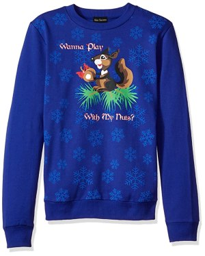 Alex Stevens Men's Play with My Nuts Ugly Christmas Sweater, Blue, Large