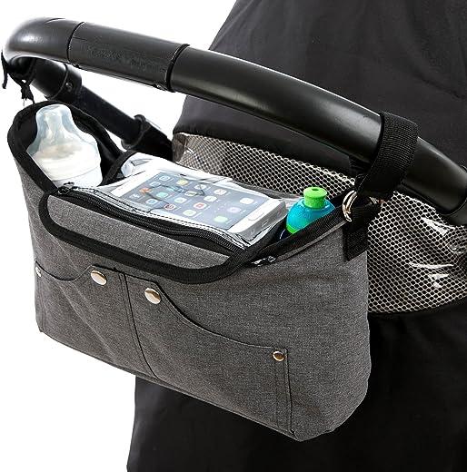 Bolso organizador para cochecito o silla de paseo gris de BTR, con bolsillo exclusivo para el teléfono móvil con solapa. 2 ganchos para el cochecito gratuitos
