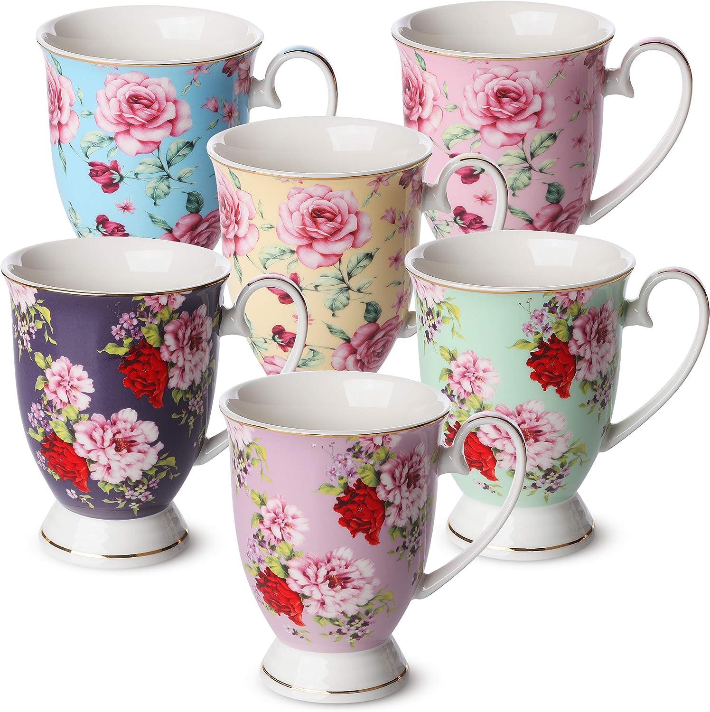 Amazon Com Btat Coffee Mugs 12 Oz Set Of 6 Floral Mugs Porcelain Bone China Tea Mug Coffee Cups Coffee Mug Set Large Coffee Mugs Coffee Cups Set Mugs For Coffee Tea Cups