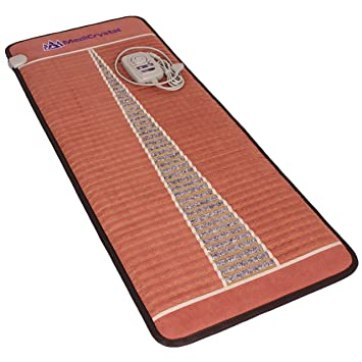 "Far Infrared Amethyst Mat Midsize (59""L x 24""W) - Negative Ion - FIR Therapy - Natural Amethyst - FDA Registered Manufacturer - Adjustable Temperature Setting - Hot Crystal Heating Pad - Reddish Brown"