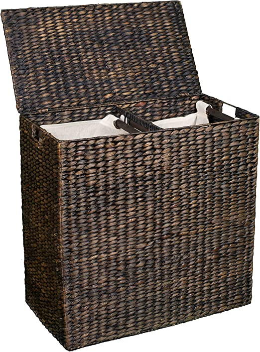 Amazon Com Birdrock Home Double Laundry Hamper With Lid And Divided Interior Espresso Decorative Eco Friendly Hand Woven Water Hyacinth Fibers Two Removable Liners Bag Dual Dark Wicker Basket