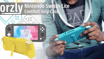 Orzly-Grip-Case-for-Nintendo-Switch-Lite--Case-with-Comfort-Padded-Hand-Grips-Kickstand-Pack-of-Thumb-Grips-Black