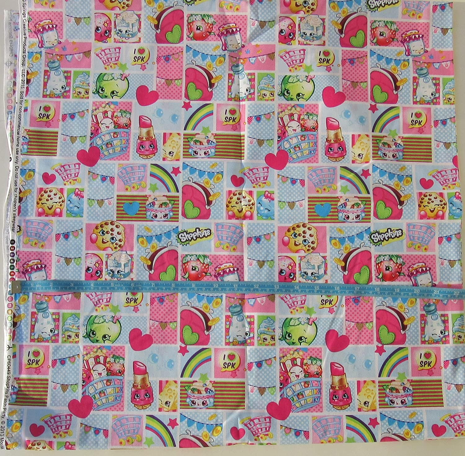 Shopkins - CP60449 Shopkins Patch Party - Cotton Fabric - Squares Design - 44 Inches Wide - Sold by the Yard