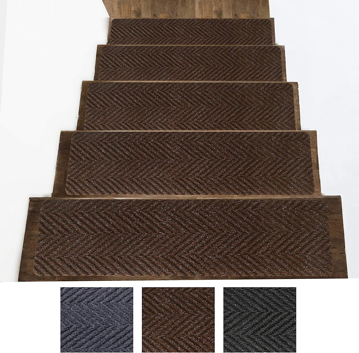 Indoor And Outdoor Carpet Stair Treads – Non Slip Rubber Stair   Outdoor Carpet For Stairs   Navy Pattern   Artificial Grass   Front Entrance   Heavy Duty   Mosaic