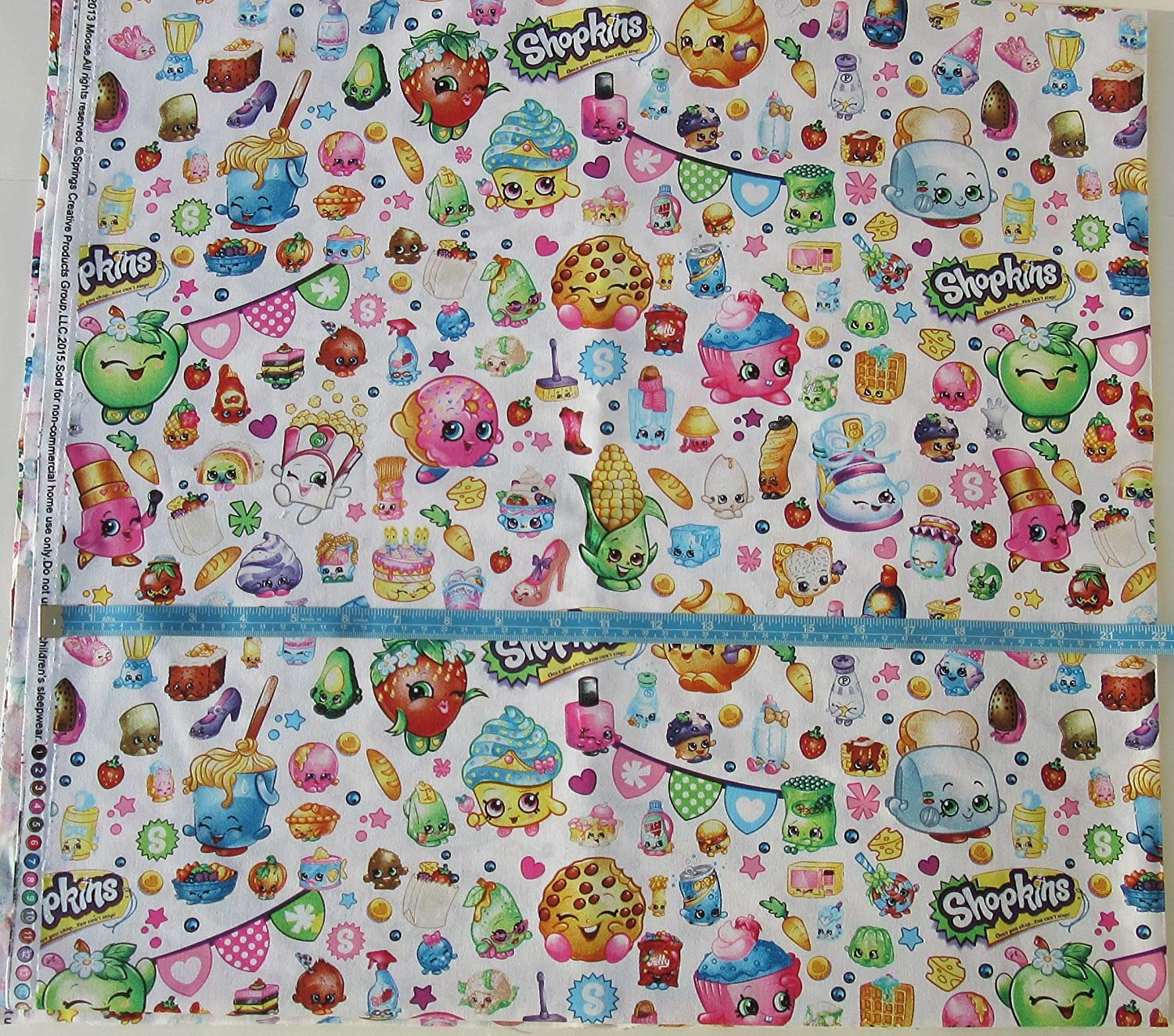 Shopkins - CP60447 Packed Shopkins Party - Cotton Fabric - White Background - 44 Inches Wide - Sold by the Yard