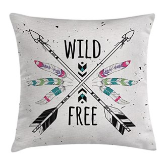 Tribal Throw Pillow Cushion Cover by Ambesonne, Crossed Ethnic Arrows with Wild and Free Motivation Quote Primitive Illustration, Decorative Square Accent Pillow Case, 18 X18 Inches, Black Coconut