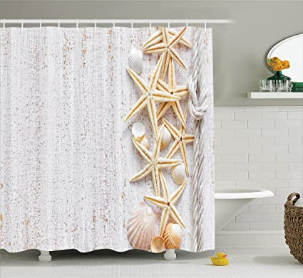 Ambesonne Seas S Shower Curtain Seas S And Starfish With Navy Rope In Vertical Direction Wood Surface