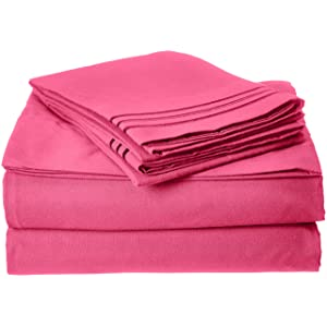 Best Seller Luxurious Bed Sheets Set on Amazon! Elegant Comfort 1500 Thread Count Wrinkle,Fade and Stain Resistant 4-Piece Bed Sheet set, Deep Pocket, HypoAllergenic - Queen Hot Pink