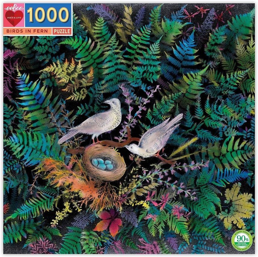 eeBoo Birds in Fern Jigsaw Puzzle for Adults, 1000 Pieces, Jigsaw ...