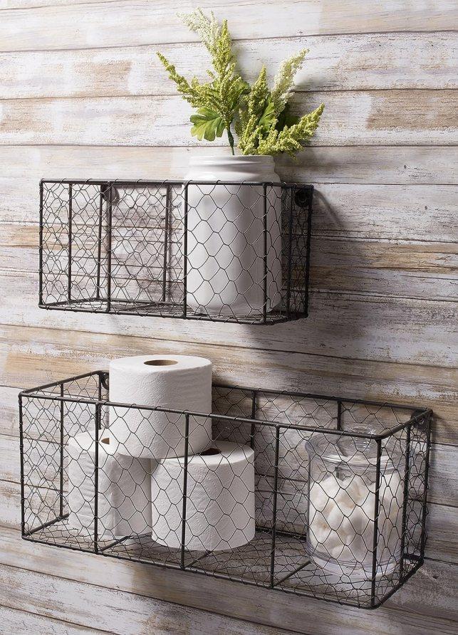 chicken wire farmhouse style baskets