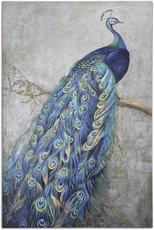 Amazon Com My Swanky Home Extra Large 72 Proud Peacock Hand Painted Oil Painting Oversize Wall Art Plume Paintings