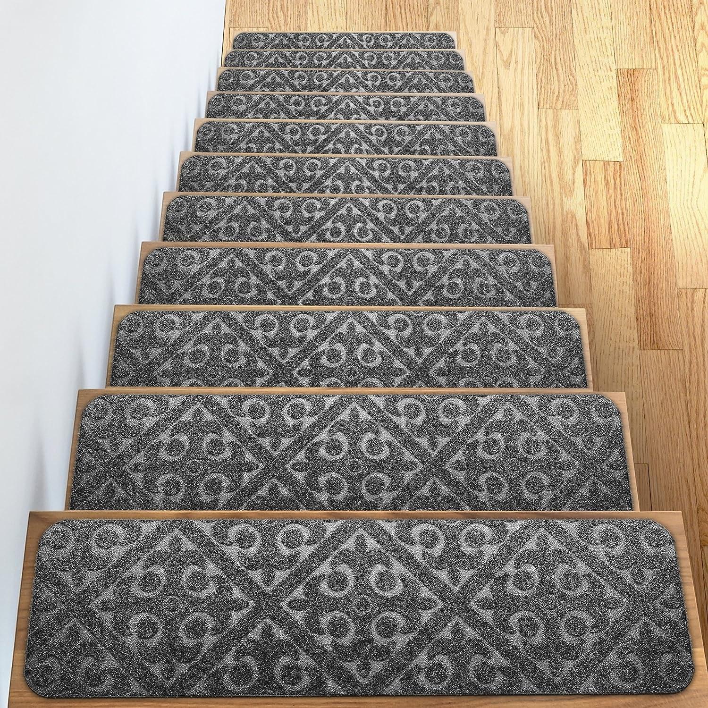 Amazon Com Carpet Stair Treads Set Of 13 Non Slip Skid Rubber | Rug Stair Treads Non Slip | Bullnose Carpet | Gloria Rug | Slip Resistant | Tread Covers | Flooring