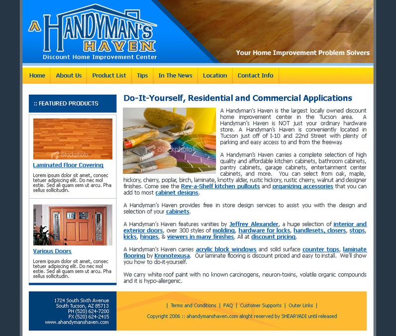 Uncoded Template Home Improvement Store 200 Web Page Design