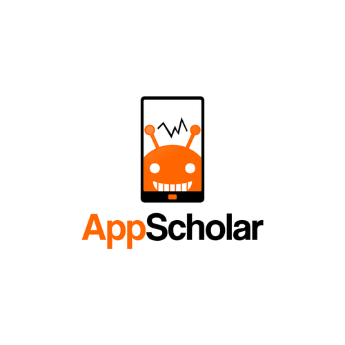Create a cutting-edge tech logo for AppScholar the mobile