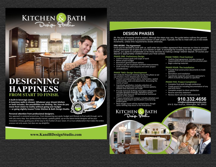 kitchen and bath design center wooden clock create a marketing flyer for studio postcard winning by alexandrina ana