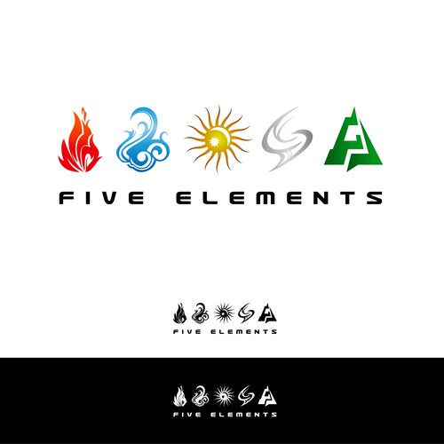 Create logo for the 5 elements in modern tribal adventure
