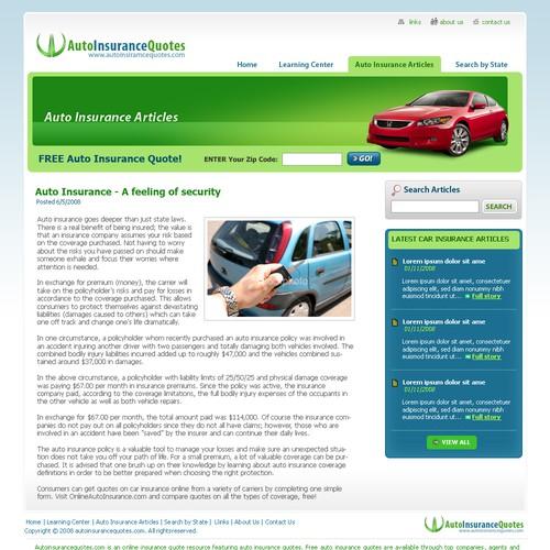 Auto Insurance Quotes Website Design Only Web Page Design Contest 99designs