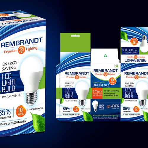 1800 x 1800 px approx. Design High End Led Light Bulb Packaging For Rembrandt Premium Lighting Product Packaging Contest 99designs