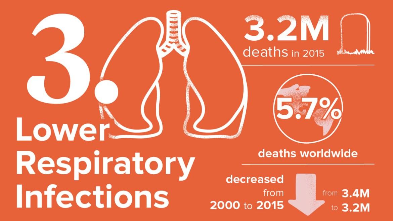 أخطر 10 أمراض3. مرض التهابات الجهاز التنفسي السفلي: