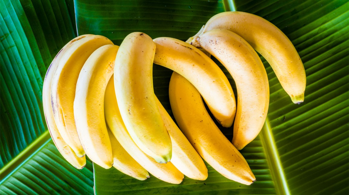 a bunch of bananas on banana leaves