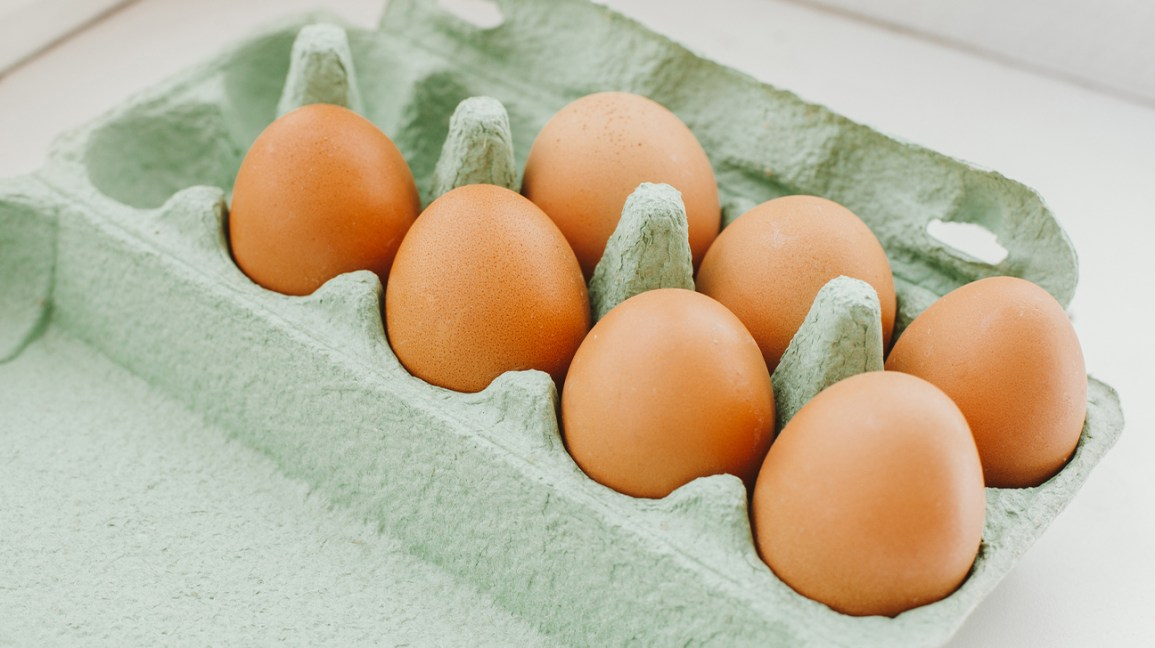 fresh eggs in a carton
