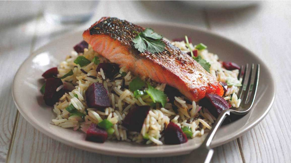 Salmon, Wild Rice e barbabietole