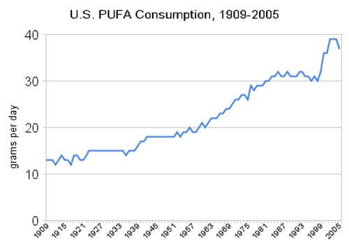 Increase of Consumption of Polyunsaturated Fats in USA Graph