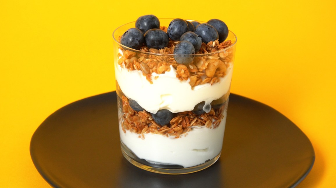 parfait with blueberries on top