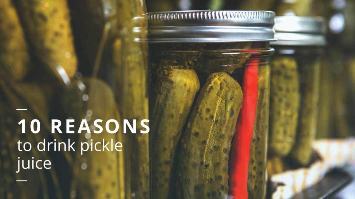 Jars of pickles and pickle juice