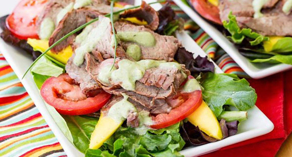 grilled steak mango salad