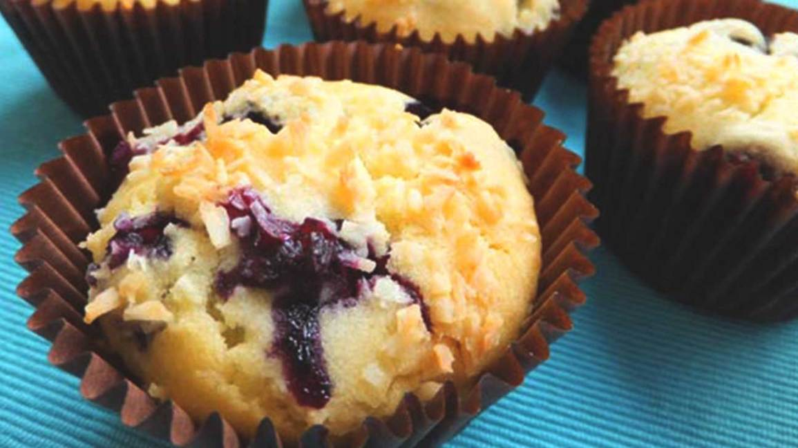 Low-FODMAP blueberry coconut muffins