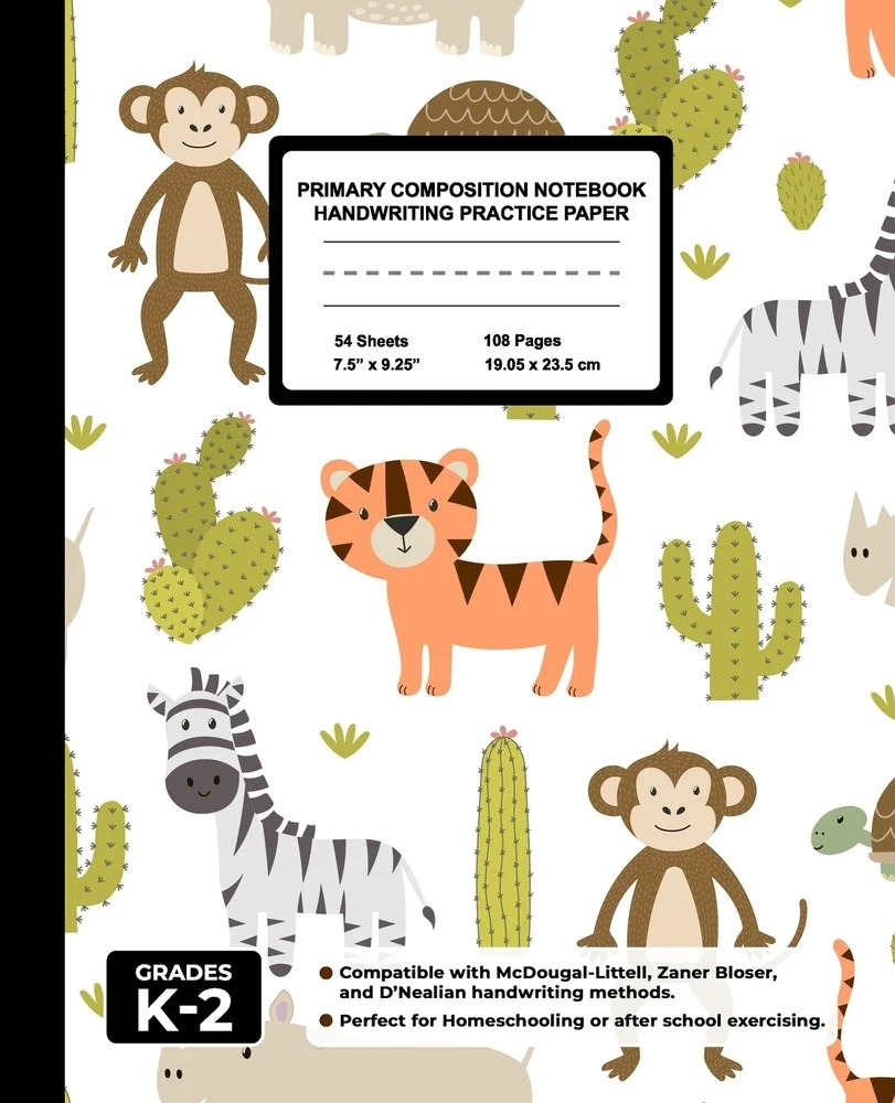 Primary Composition Notebook Handwriting Practice Paper: Zoo Animals Blank  Writing Sheets for Kindergarten to 2nd Grade Elementary Students [ 1000 x 811 Pixel ]